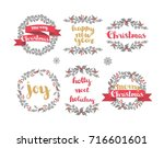 set of winter christmas wreaths ... | Shutterstock .eps vector #716601601