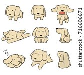 vector set of dog  labrador... | Shutterstock .eps vector #716606671