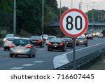 speed limit sign with a traffic ... | Shutterstock . vector #716607445