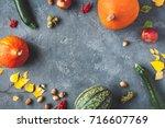 autumn frame made of pumpkins ... | Shutterstock . vector #716607769