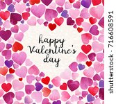 watercolor happy valentine s... | Shutterstock .eps vector #716608591