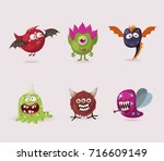 set of cute monsters for... | Shutterstock .eps vector #716609149