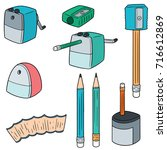 vector set of pencil sharpener | Shutterstock .eps vector #716612869