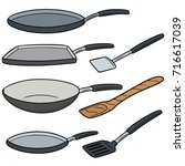 vector set of pan and flipper | Shutterstock .eps vector #716617039