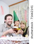 Muslim family birthday - stock photo
