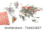 map of the world made of screws ... | Shutterstock . vector #716621827