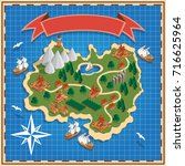 island on the map. isometric.... | Shutterstock .eps vector #716625964