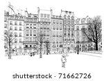 france   paris   place dauphine ... | Shutterstock .eps vector #71662726