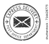 express delivery black round... | Shutterstock .eps vector #716628775