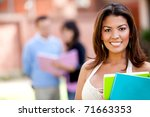 female student carrying... | Shutterstock . vector #71663353