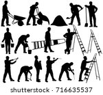 shapes of builder men in helmet ... | Shutterstock .eps vector #716635537