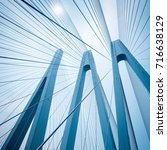 blue cable stayed bridge... | Shutterstock . vector #716638129