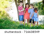 little boys and girl is... | Shutterstock . vector #716638549