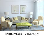 modern living room interior. 3d ... | Shutterstock . vector #71664019