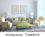 modern living room interior. 3d ... | Shutterstock . vector #71664019
