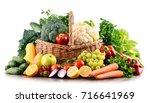 composition with variety of raw ... | Shutterstock . vector #716641969