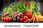composition with assorted raw... | Shutterstock . vector #716642569