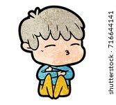 cartoon curious boy   Shutterstock .eps vector #716644141