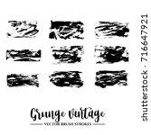 set of black brush stroke and... | Shutterstock .eps vector #716647921
