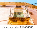 stylish balcony with a metal... | Shutterstock . vector #716658085