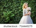 lovely young bride in wedding... | Shutterstock . vector #716660275