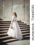 a beautiful young bride in a... | Shutterstock . vector #716660281