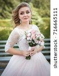lovely young bride in wedding... | Shutterstock . vector #716665111