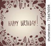 happy birthday greeting card.... | Shutterstock .eps vector #716676034