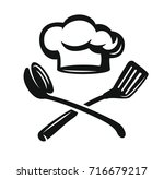 chef hat with kitchen utensils. ... | Shutterstock .eps vector #716679217