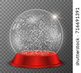 crystal snow globe on red stand ... | Shutterstock .eps vector #716691391