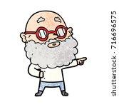 cartoon curious man with beard... | Shutterstock .eps vector #716696575