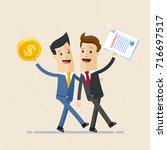 two happy business men ... | Shutterstock .eps vector #716697517