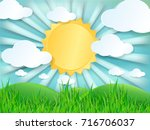 paper cut design with cloud on... | Shutterstock .eps vector #716706037
