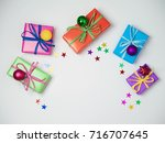 christmas colorful gift boxes... | Shutterstock . vector #716707645