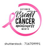 Vector Breast Cancer Awareness Calligraphy Poster Design. Stroke Pink Ribbon. October is Cancer Awareness Month. | Shutterstock vector #716709991
