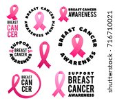 vector breast cancer awareness... | Shutterstock .eps vector #716710021