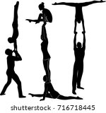 acrobatic stunt. gymnasts... | Shutterstock .eps vector #716718445