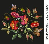 embroidery butterfly and roses. ... | Shutterstock .eps vector #716724829