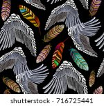embroidery angel wings and... | Shutterstock .eps vector #716725441