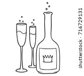 cartoon champagne | Shutterstock .eps vector #716729131