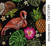 embroidery flamingo  palm tree... | Shutterstock .eps vector #716737189