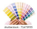 woman holding color samples for ... | Shutterstock . vector #71673955