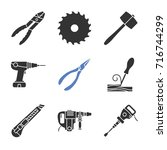 construction tools glyph icons... | Shutterstock .eps vector #716744299