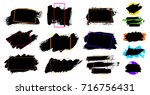 black paint  ink brush stroke ... | Shutterstock .eps vector #716756431