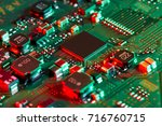 electronic circuit board close... | Shutterstock . vector #716760715