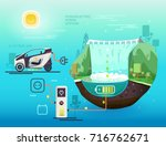 hydroelectric power station.... | Shutterstock .eps vector #716762671