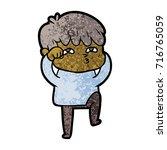 cartoon curious man   Shutterstock .eps vector #716765059