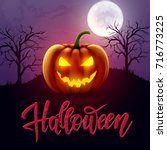 halloween hand drawn lettering  ... | Shutterstock .eps vector #716773225