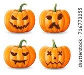 set of halloween pumpkins ... | Shutterstock .eps vector #716773255