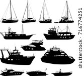 ships and boats silhouettes... | Shutterstock .eps vector #716774251